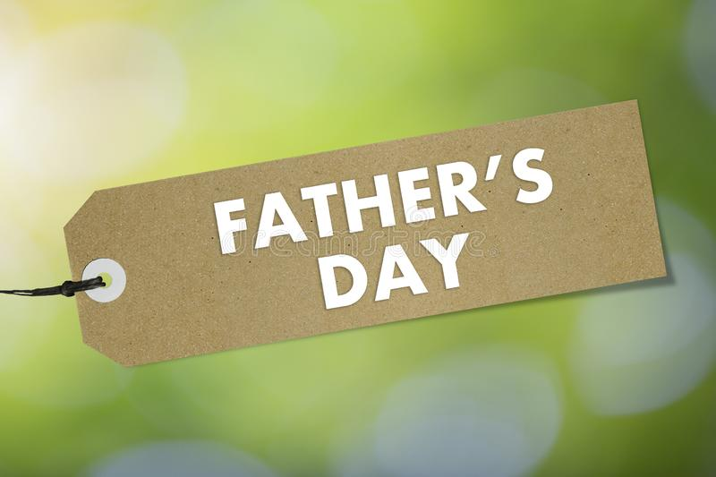 Quality label with text Father`s Day on green background. Mockup stock illustration