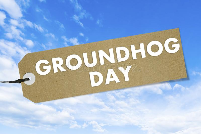 Quality label with text Groundhog Day on blue sky background. Mockup vector illustration