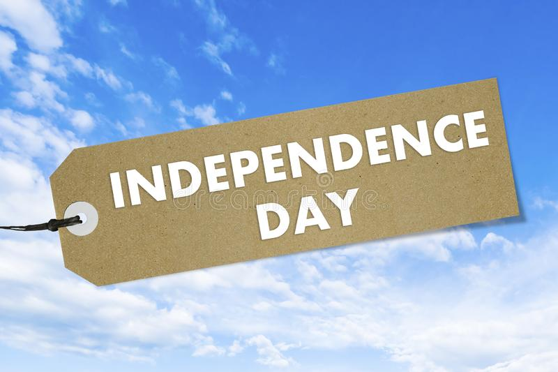 Bio Natural label with text Independence Day on blue sky background. Mockup royalty free illustration
