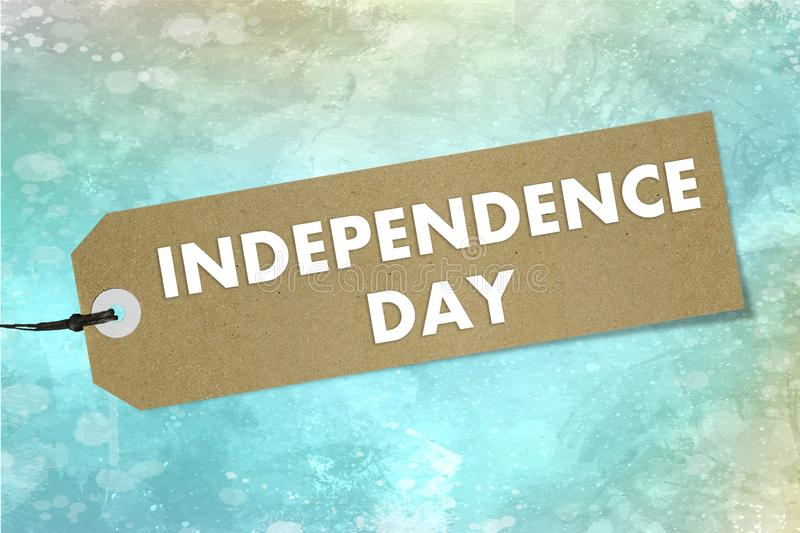 Natural bio label with text Independence Day on green watercolor background. Mockup royalty free illustration