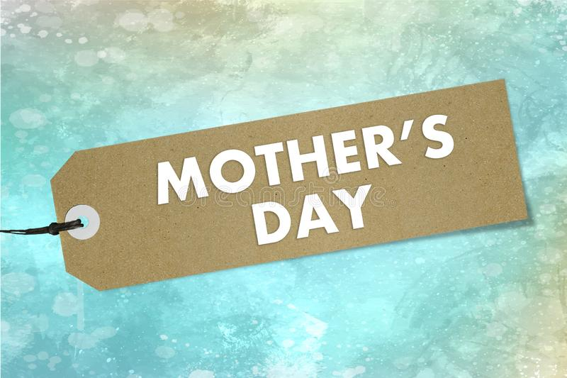Bio natural label with text Mother`s Day on watercolor green background. Mockup stock illustration