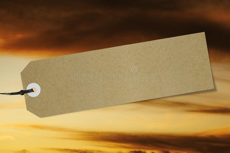 Quality label on sunset sky background. Mockup royalty free stock image