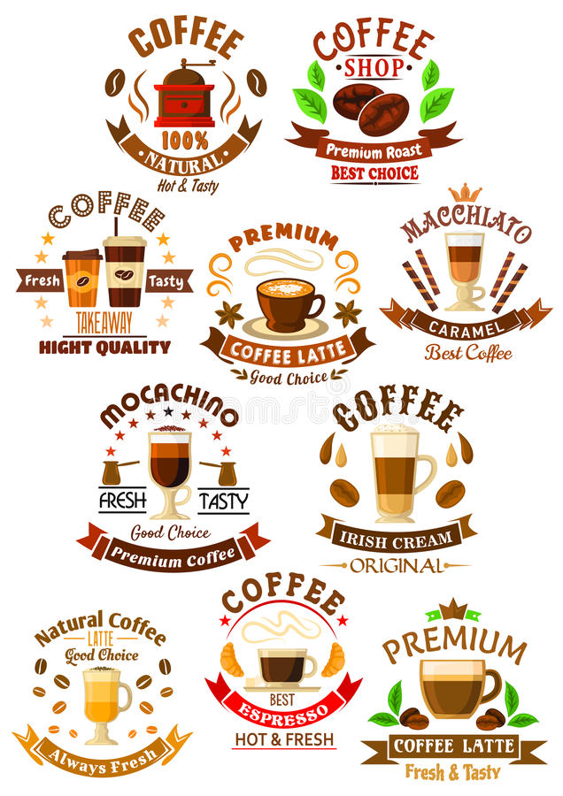 Premium quality coffee beverages symbols royalty free illustration