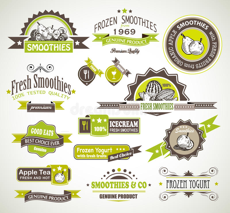 Premium quality collection of Fruits Smoothies,. Tea and frozen yogurt labels with different styles and space for text royalty free illustration
