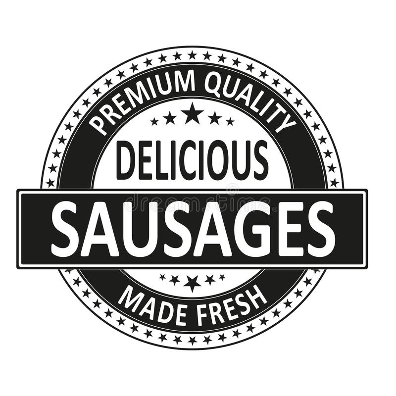 Premium quality delicious sausages made fresh badge stamp royalty free illustration
