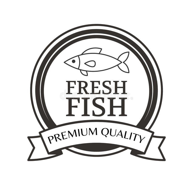 Premium Quality Fresh Fish Advertising Black Label stock illustration