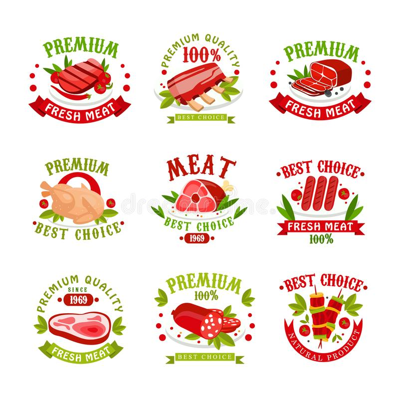 Premium quality fresh meat logo templates set, best choice since 1969 badge vector Illustrations royalty free illustration