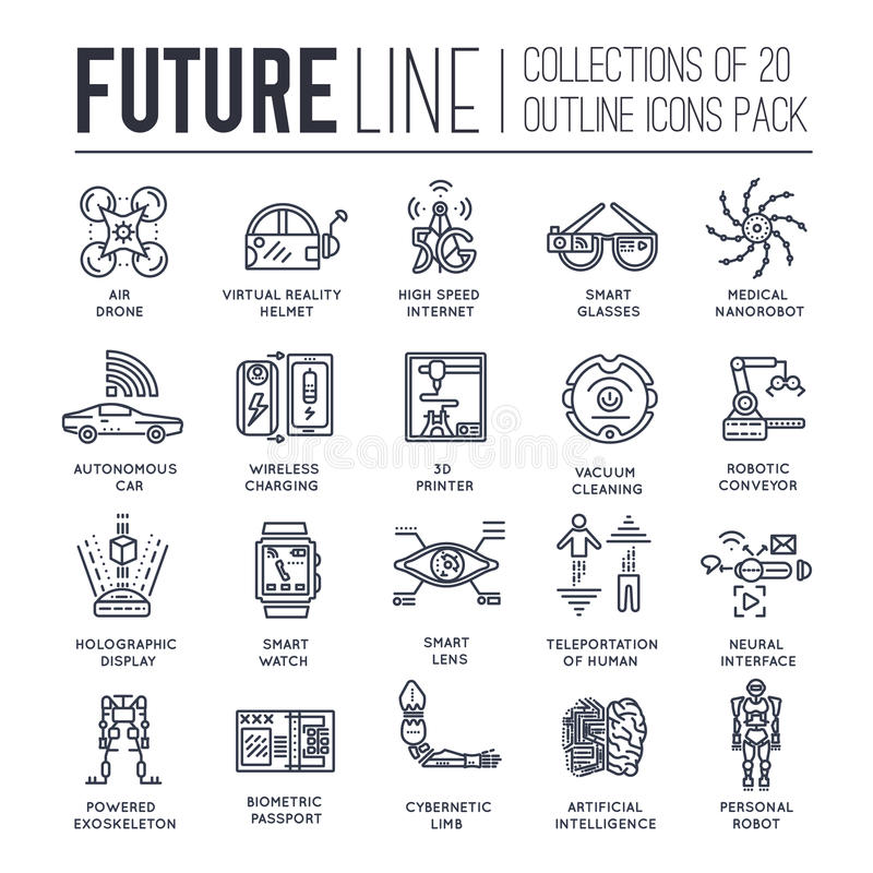 Premium quality future thin line ollection set. Tomorrow minimalistic symbol pack. Modern technology template of icons. Premium quality future flat collection vector illustration