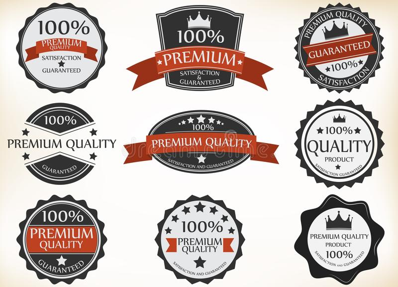 Premium Quality and Guarantee Labels with retro vintage style royalty free illustration