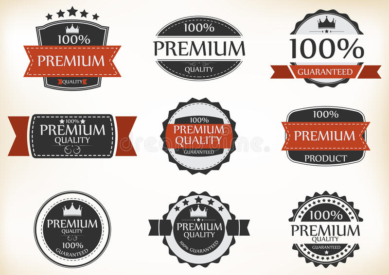 Premium Quality and Guarantee Labels with retro vintage style vector illustration