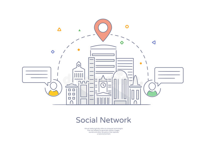 Premium Quality Hand drawn Line Icon And Concept Set: City social network, Urban landscape, Group of connecting people. Via social network stock illustration