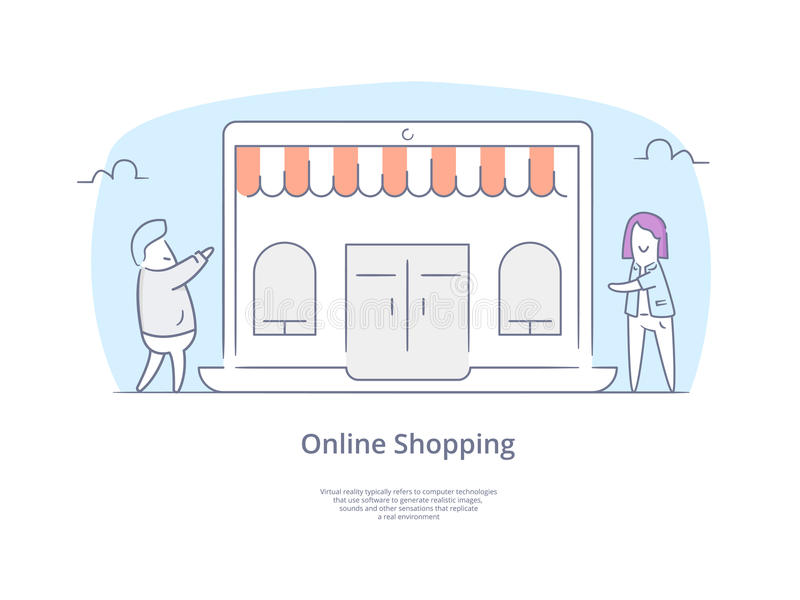 Premium Quality Hand drawn Line Icon And Concept Set: Shopping people with bags characters, Online Shopping Concept royalty free stock photos