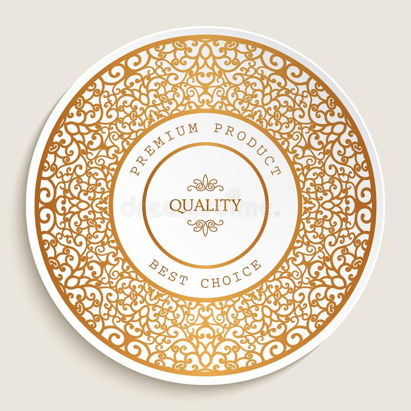 Premium quality label with gold border stock illustration