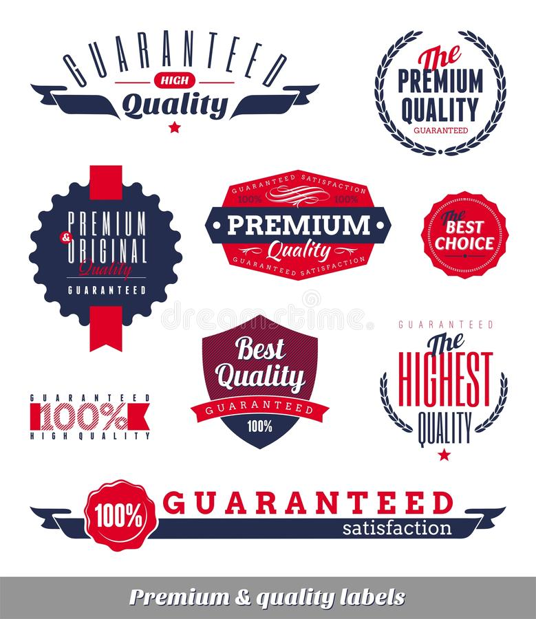 Premium & quality labels and emblems. Set of premium & quality labels and emblems stock illustration