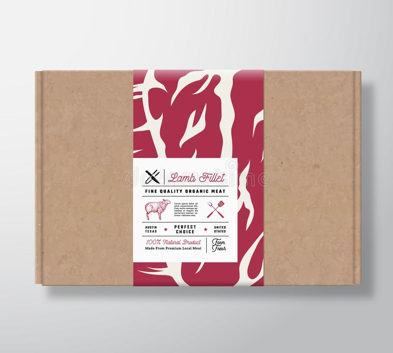Premium Quality Lamb Fillet Craft Cardboard Box. Abstract Vector Meat Paper Container with Label Cover. Packaging Design. Modern Typography and Hand Drawn vector illustration