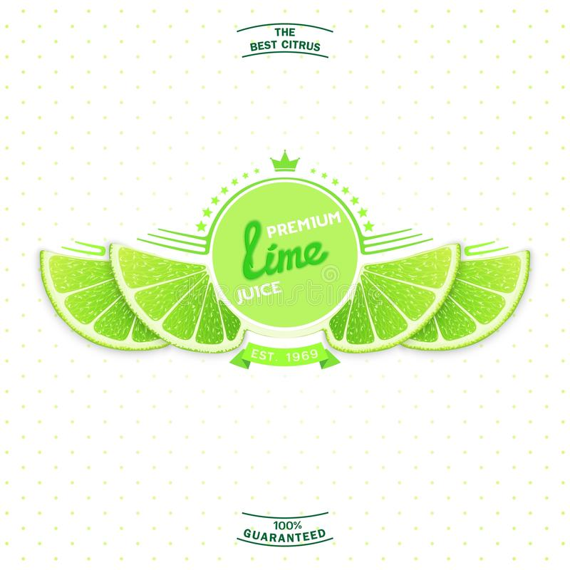 Premium quality lime juice. Creative label and emblem for products with stylized lime slice shaped like a wings. Premium quality citrus juice royalty free illustration