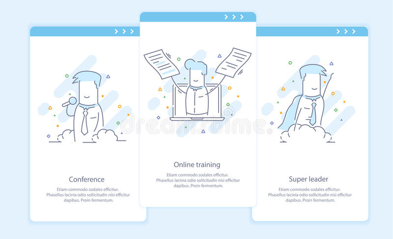 Premium Quality Line Icon And Concept Set Onboarding: Conference, Online training, Super leader, Businessman stock illustration