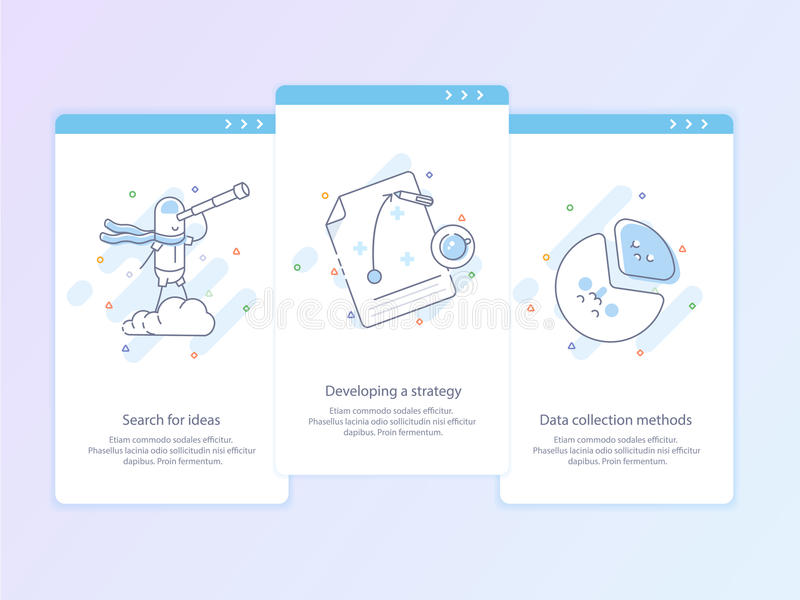 Premium Quality Line Icon And Concept Set Onboarding: Search for ideas, Developing a strategy, Data collection methods royalty free illustration
