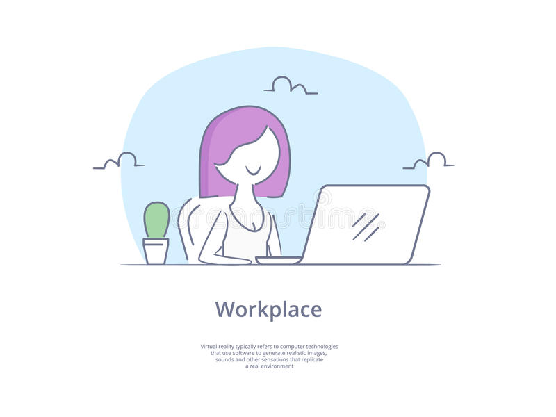 Premium Quality Line Icon And Concept Set: Young beautiful businesswomen work on portable laptop computer, freelancer royalty free illustration