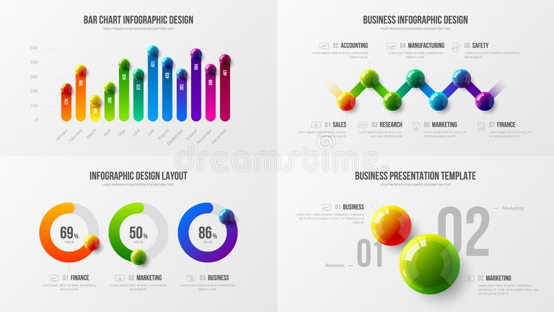 Premium quality marketing analytics presentation vector illustration template. Business data visualization creative design layout. Amazing colorful corporate vector illustration