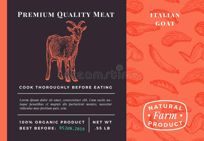 Premium Quality Meat Abstract Vector Packaging Design or Label. Modern Typography and Hand Drawn Goat Sketch Background stock illustration