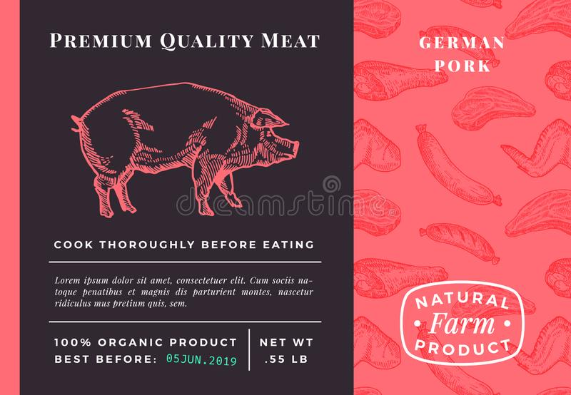 Premium Quality Meat Abstract Vector Pork Packaging Design or Label. Modern Typography and Hand Drawn Pig Sketch vector illustration