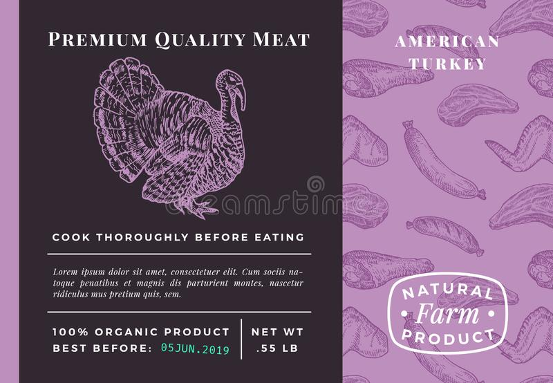 Premium Quality Meat Abstract Vector Poultry Packaging Design or Label. Modern Typography and Hand Drawn Turkey Sketch stock illustration