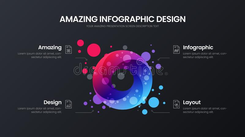 4 option circle analytics vector illustration template. Business data design layout. Round organic statistics infographic. stock illustration