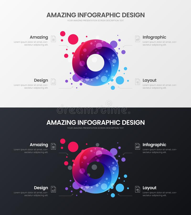 4 option circle analytics vector illustration template set. Business design layout. Round organic statistics infographic bundle. royalty free illustration