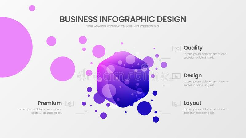 4 option hexahedron analytics vector illustration template. Business data visualization design layout. Statistics infographic. royalty free illustration