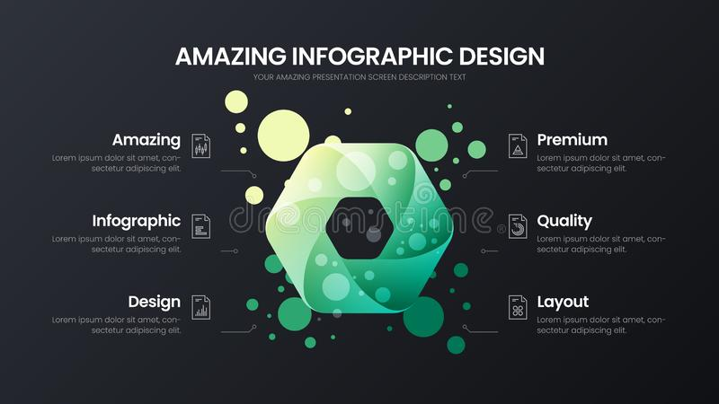 6 option hexahedron analytics vector illustration template. Business data design layout.Organic statistics infographic. royalty free illustration
