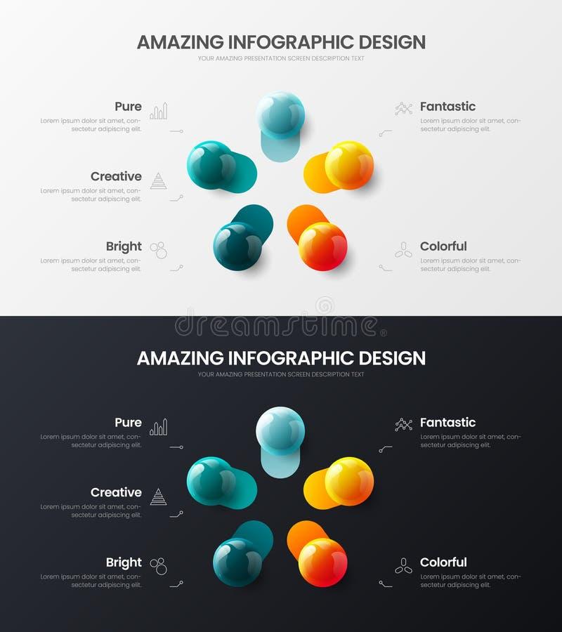 5 step marketing analytics presentation vector illustration template bundle. Amazing business data visualization design layout. Premium quality 5 option royalty free illustration