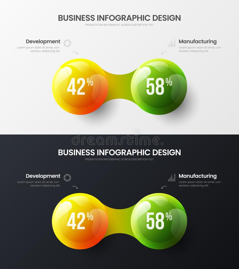 2 option marketing analytics presentation vector illustration template bundle. Business data visualization design layout. Premium quality 2 option marketing vector illustration