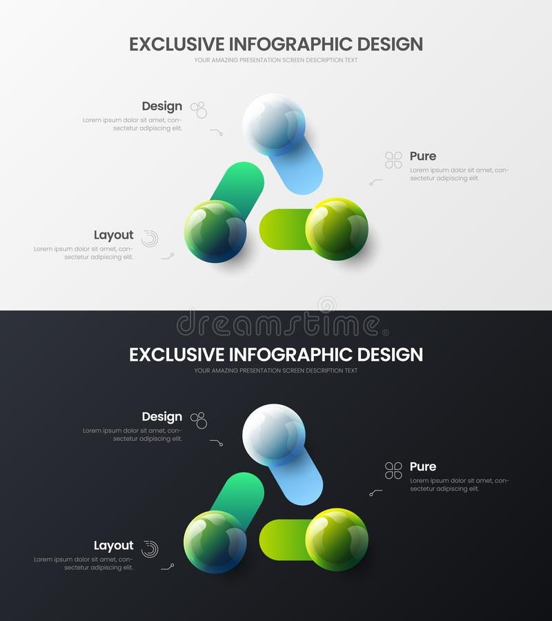 3 option marketing analytics presentation vector illustration template bundle. Business data visualization design layout set. Premium quality 3 option marketing royalty free illustration
