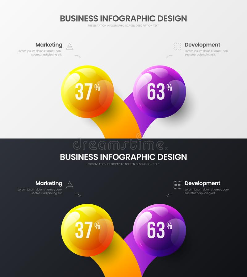 2 option marketing presentation vector illustration template bundle. Business data visualization design layout infographic set. Premium quality 2 option stock illustration