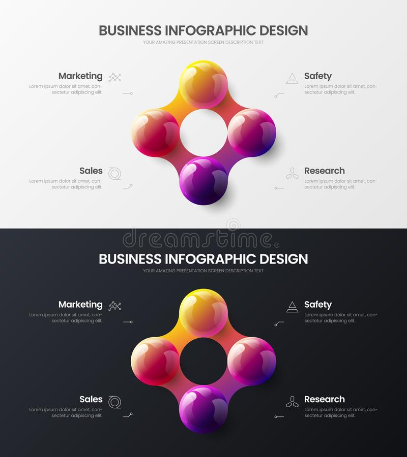 4 step marketing presentation vector illustration template bundle. Business data visualization design layout infographic set. Premium quality 4 option marketing royalty free illustration