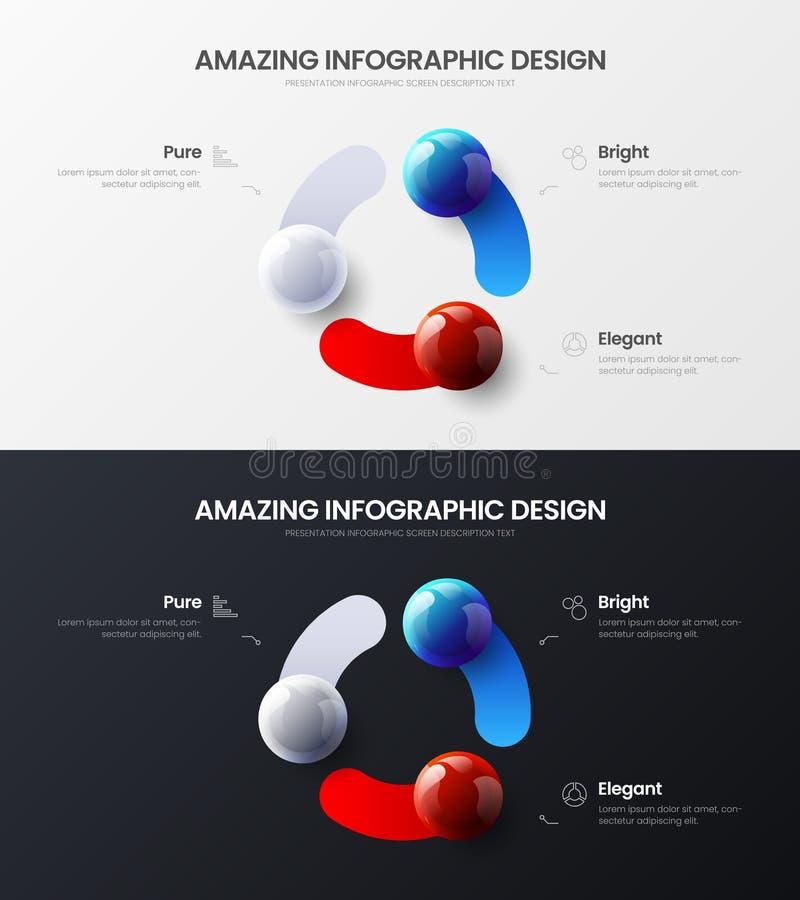 3 option marketing presentation vector template bundle. Business data visualization design layout set. Premium quality 3 option marketing analytics presentation vector illustration