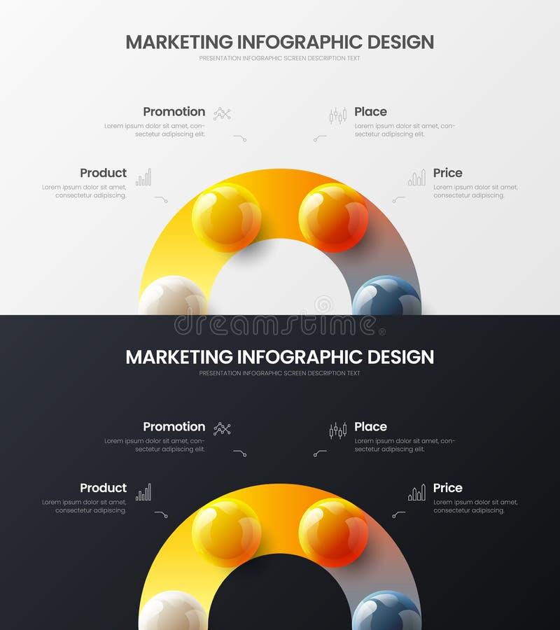 4 option marketing analytics vector illustration template bundle. Business data visualization design layout infographic set. Premium quality 4 option marketing stock illustration