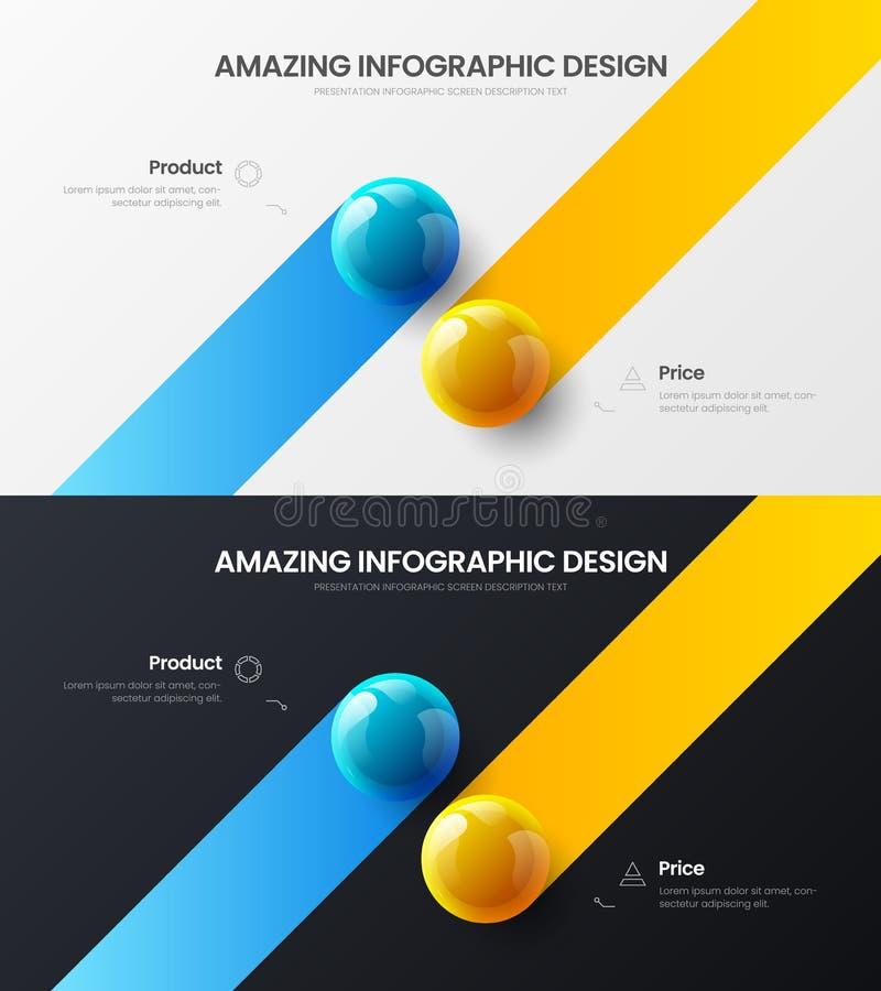 2 step marketing analytics presentation vector illustration template bundle. Business infographic design layout set. Premium quality 2 option marketing stock illustration