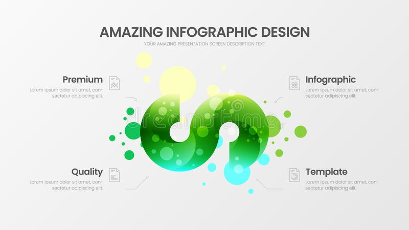 4 option marketing analytics vector illustration template. Business data design layout. Curl organic statistics infographic report. Premium quality 4 option vector illustration