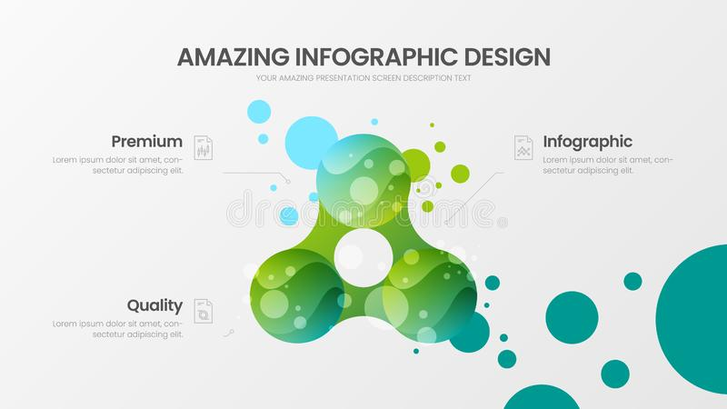3 option marketing analytics presentation vector illustration template. Creative business data visualization design layout. Premium quality 3 option marketing royalty free illustration