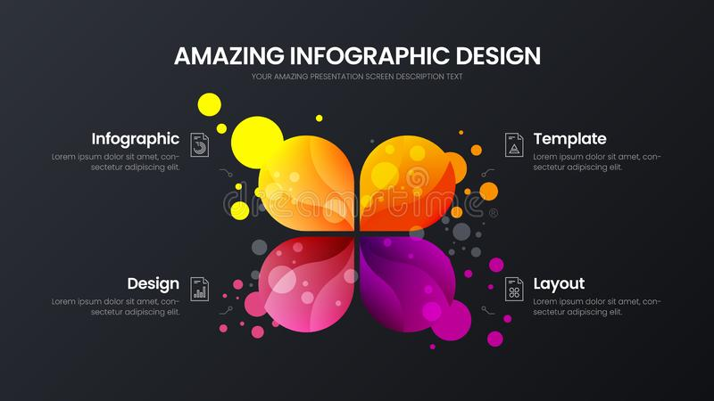 4 option marketing analytics vector illustration template. Business data design layout. Colorful organic statistics infographic. Premium quality 4 option stock illustration