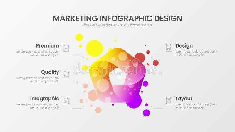 5 option marketing analytics vector illustration template. Business data design layout. Organic statistics infographic. Premium quality 5 option marketing vector illustration