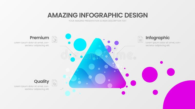 3 option triangle analytics vector illustration template. Colorful delta organic statistics infographic report. royalty free illustration