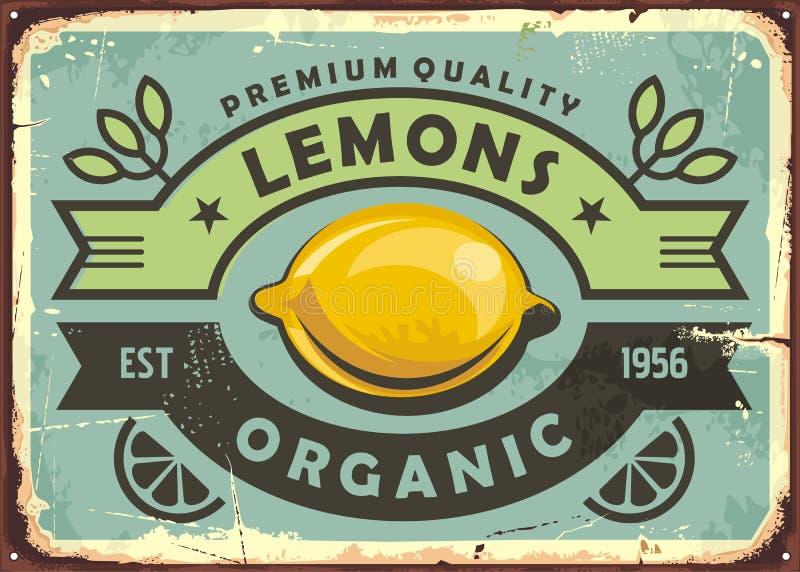 Premium quality organic lemons vintage sign vector illustration