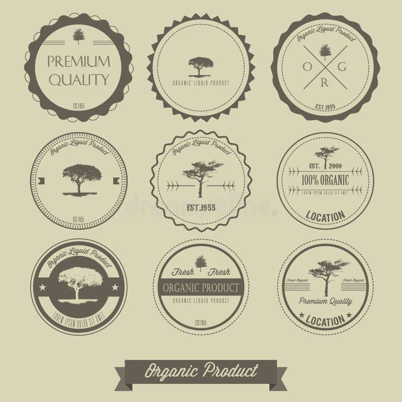 Premium quality organic product vintage label stock illustration