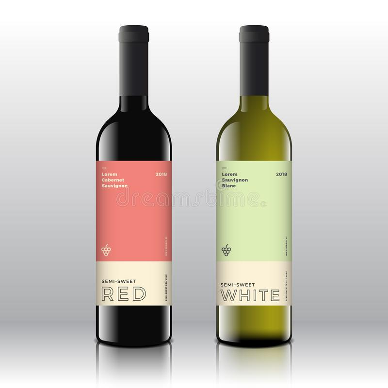 Premium Quality Red and White Wine Labels Set on the Realistic Vector Bottles. Clean and Modern Minimalist Design with vector illustration