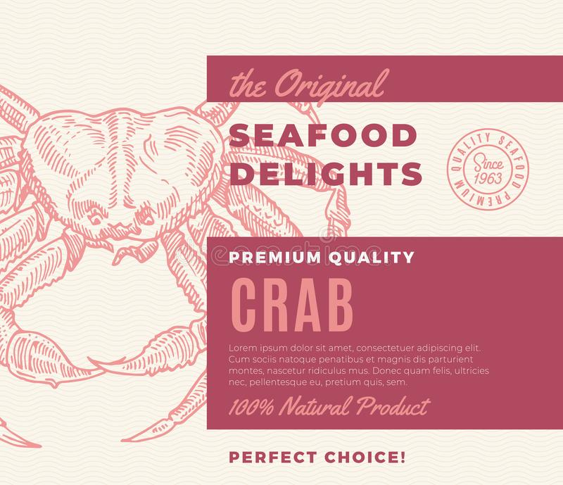 Premium Quality Seafood Delights. Abstract Vector Packaging Design or Label. Modern Typography and Hand Drawn Crab. Silhouette Background Layout vector illustration
