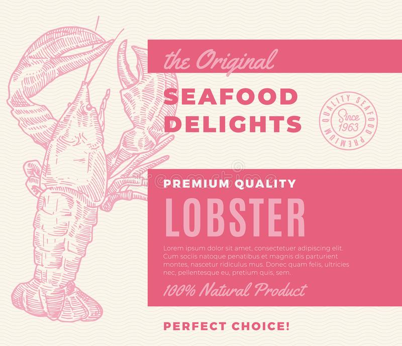 Premium Quality Seafood Delights. Abstract Vector Packaging Design or Label. Modern Typography and Hand Drawn Lobster. Silhouette Background Layout stock illustration