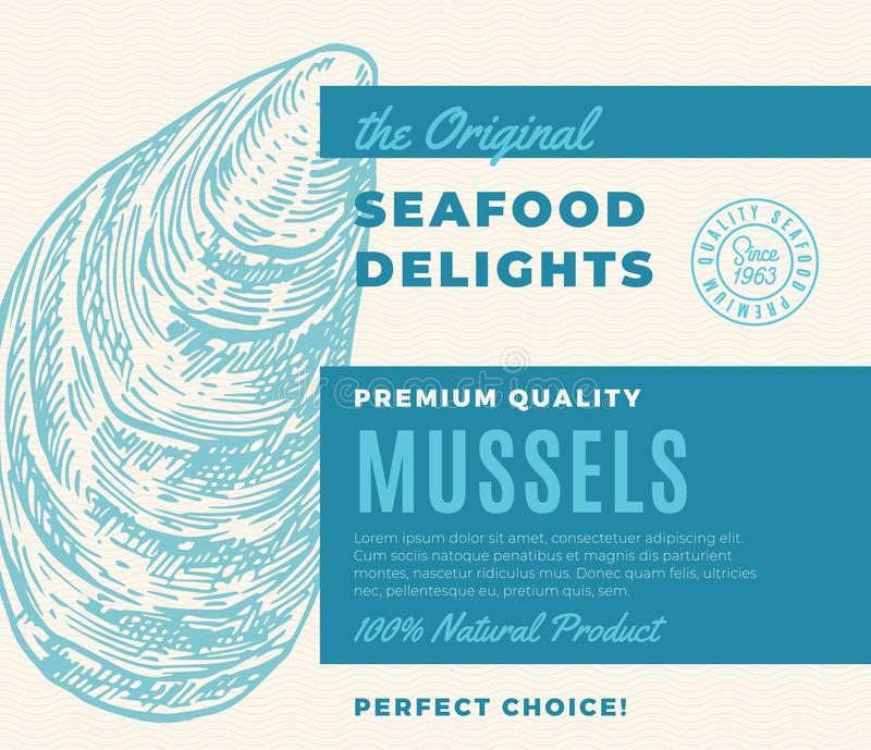 Premium Quality Seafood Delights. Abstract Vector Packaging Design or Label. Modern Typography and Hand Drawn Mussel. Mollusc Shell Silhouette Background Layout royalty free illustration